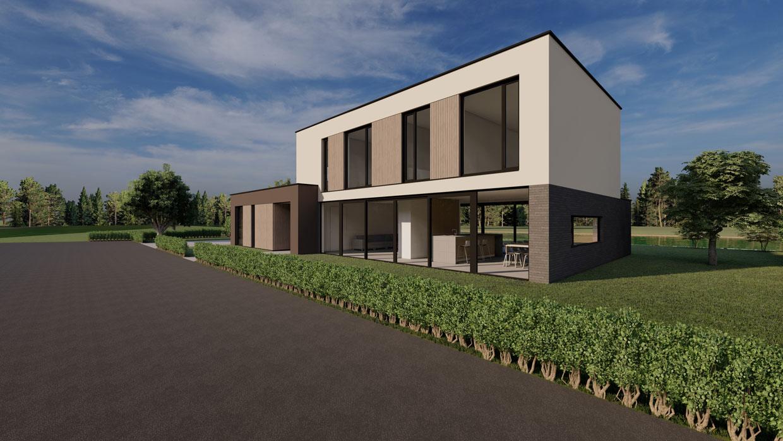 Studio voor Bouwkunst - Moderne kubistische woning in stucwerk en baksteen met veel glas - Houkepoort, Sneek