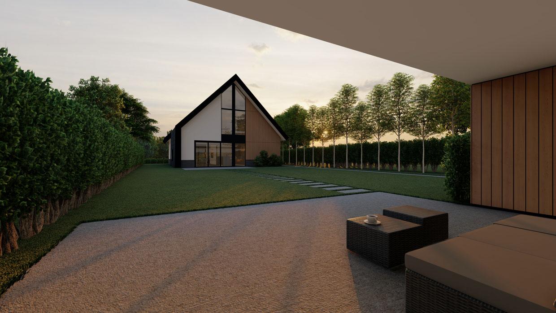 Studio voor Bouwkunst - moderne woning met met stuc, hout, steen - Broeklanden, Nieuwveense Landen, Meppel