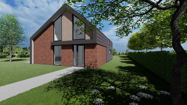 Studio voor Bouwkunst - moderne levensloop bestendige schuurwoning met dakpangevel, rood baksteen - Bontebok, Heerenveen